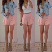 pants,blouse,jacket,shorts,summer outfits,pink,pastel pink,pinkshorts,denim jacket,crop tops,white crop tops,cool girl style,fashion,white,shirt,shoes,jewels,white top,peach shorts