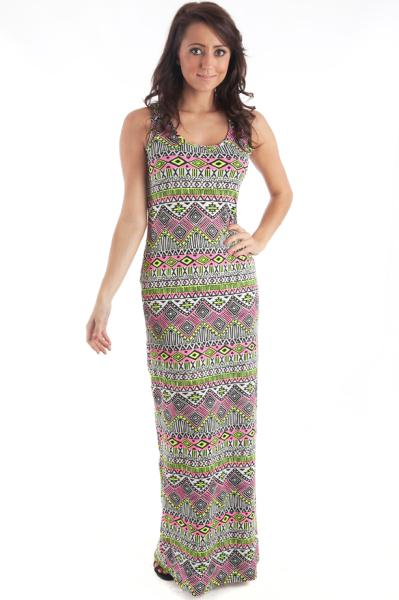 Neon Yellow And Pink Aztec Print Maxi Dress: Just For 5Pounds