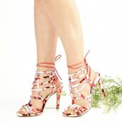 shoes,heels,strappy heels,fashion,style,floral,multi,pink,lace up heels,qupid