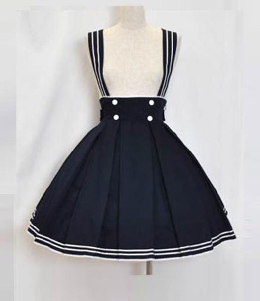 skirt sailor sailor skirt short navy blue dress navy white buttons kawaii skater skirt mini skirt cute skirt with suspenders suspenders