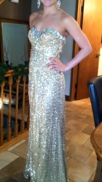 dress prom dress promdress gold promdress sparkly dress