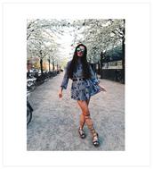 ilirida krasniqi,blogger,belt,blue dress,long sleeves,waist belt,lace up,black flats