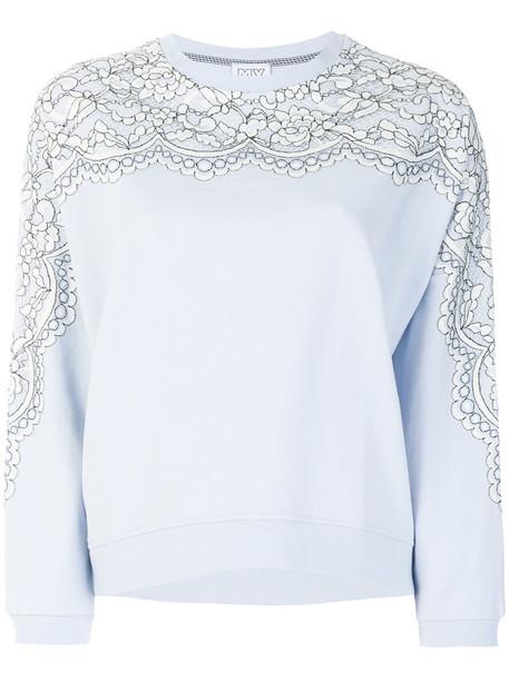 Twin-Set sweater women lace cotton print blue
