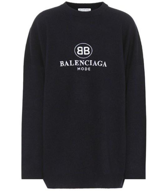 Balenciaga sweater embroidered wool blue