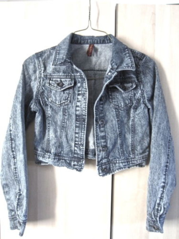 Acid Wash Fitted Denim Jacket Coat Sweater Blazer Cardigan ...