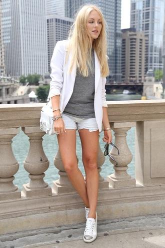 cheyenne meets chanel t-shirt shorts jacket bag shoes sunglasses