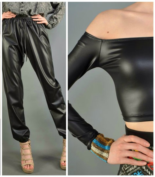 dca7c316da3bd5 blouse fashion clothes black off the shoulder faux leather pants top crop  tops tumblr outfit tumblr