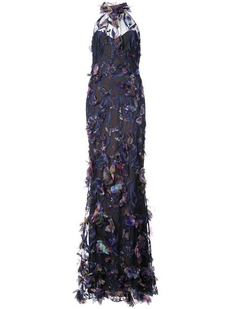 Marchesa Notte gown women blue dress