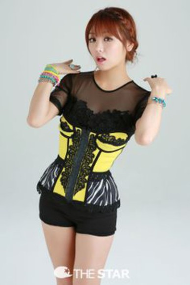 corset yellow peplum korean fashion K-pop kpop fasion asian fasion ladies code