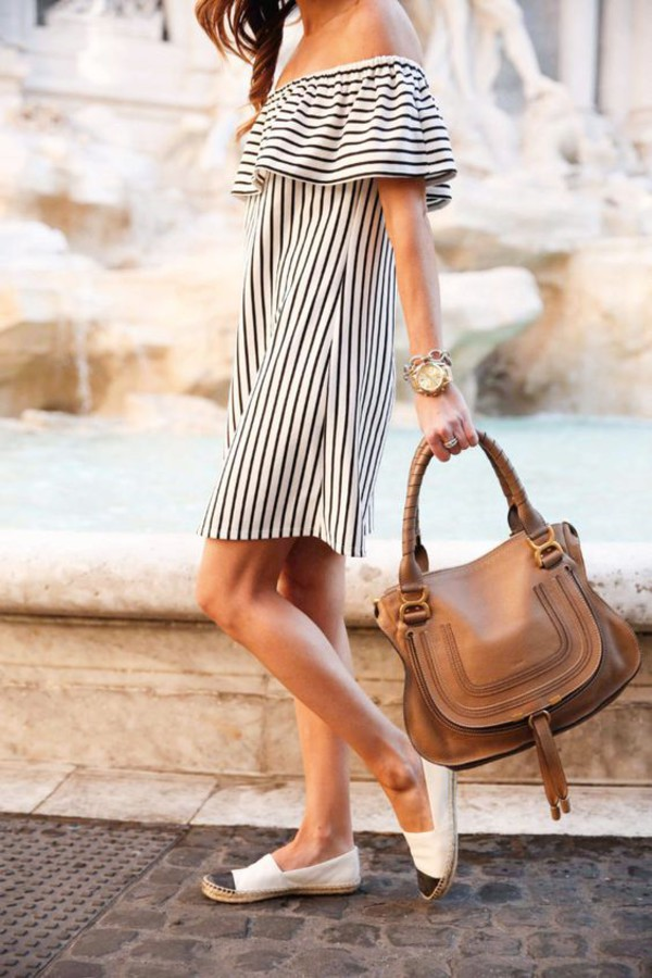 bbd407b3c46 dress tumblr stripes striped dress off the shoulder off the shoulder dress  espadrilles bag shoes.