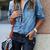 Blue Lapel Pockets Buttons Denim Blouse -SheIn(Sheinside)