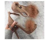 shoes,tan,fur,heels,brown,fuzzy heels,furry heels