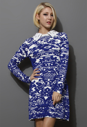 dress,embroidered collar,blue jacquard,knitted dress