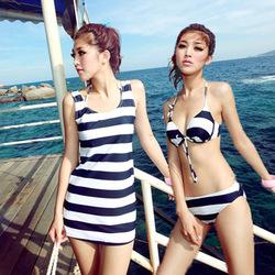 Online shop free shipping sexy navy blue zebra stripe bikini set women's swimwear padded push up there pieces swimsuits with underwire&dress