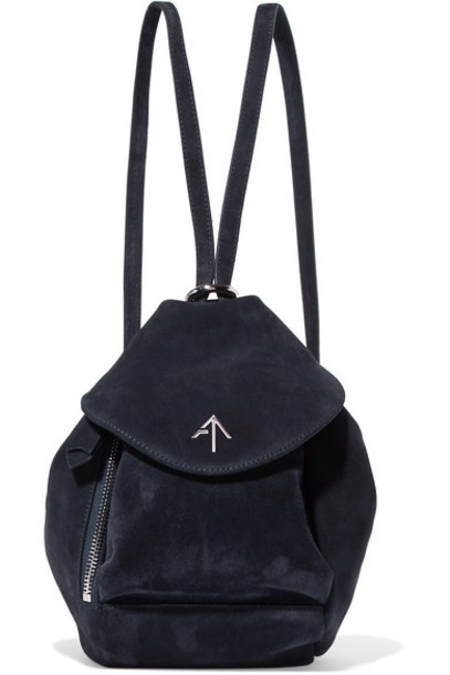manu atelier mini backpack suede backpack blue suede bag