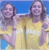 t-shirt,yellow,white t-shirt,jaune,blanc,leli,lisa and lena