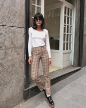 pants,checkered pants,platform shoes,shoes,white top,long sleeves,sunglasses