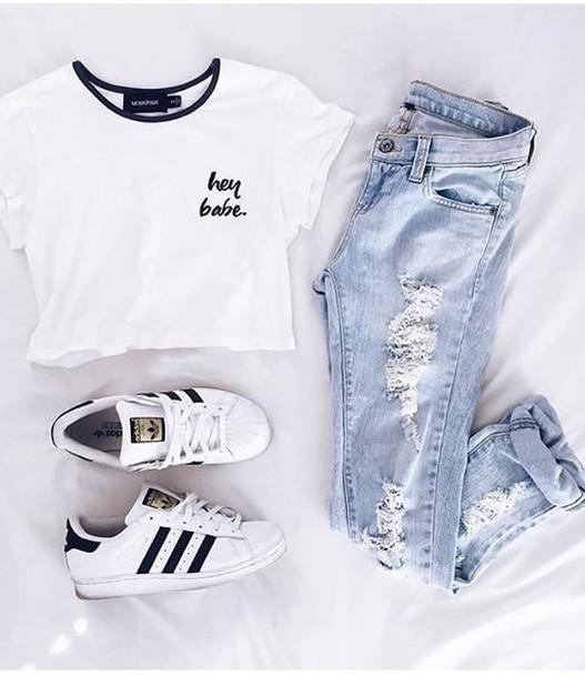 shirt adidas shoes ripped jeans white black black