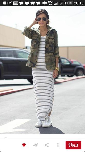 dress striped dress maxi dress camo jacket jacket
