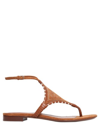 embroidered sandals suede tan shoes