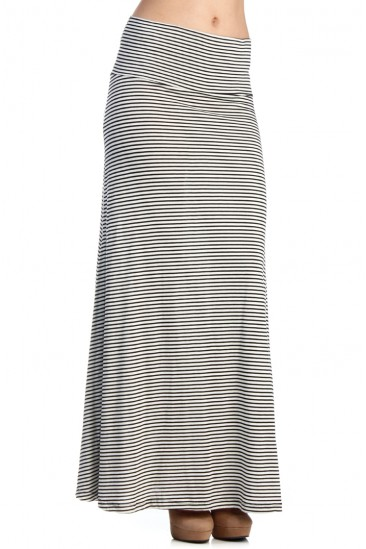 LoveMelrose.com From Harry & Molly | striped black and white maxi skirt