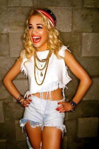 shorts acid wash high waisted shorts tank top blue t-shirt rita ora white shirt