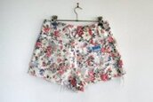 floral,High waisted shorts,shorts