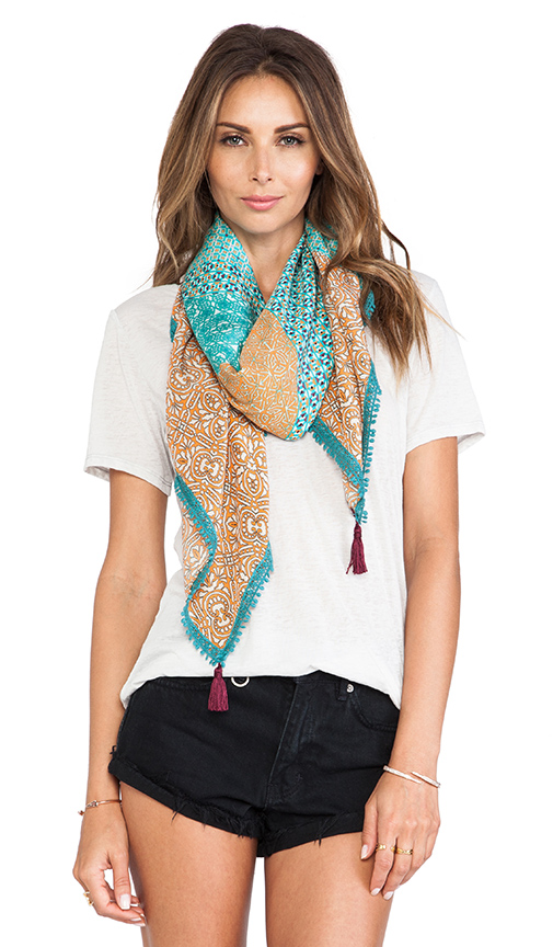 Gypsy 05 printed silk square scarf in blue & tangerine from revolveclothing.com