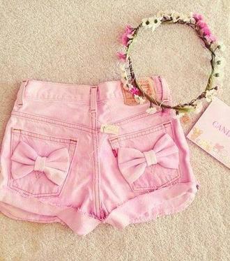 shorts pink shirt bows bowshorts