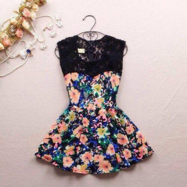black floral dress cute