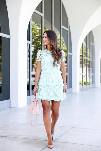 dress mint tumblr light blue mint dress ruffle ruffle dress lace dress pumps bag shoes