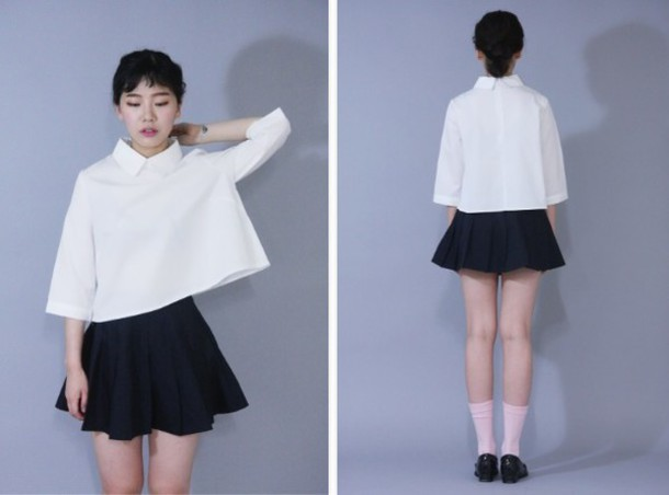 Socks Asian Pleated Skirt Button Up Shirt Tumblr Outfit - Wheretoget