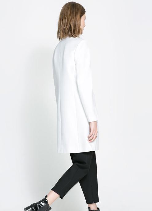 White V Neck Long Sleeve Boyfriend Coat - Sheinside.com