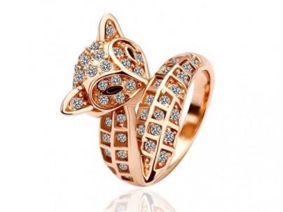 Eva rose gold cz fox ring