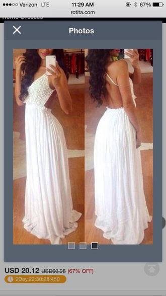 dress white prom dress spaghetti strap backless prom dress