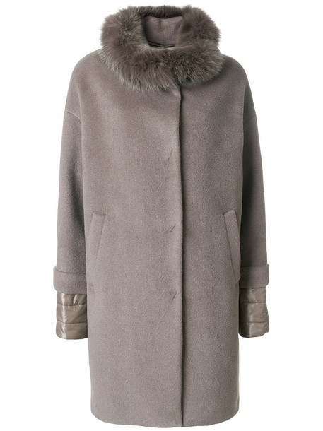 Herno coat fur collar coat fur fox women silk wool grey