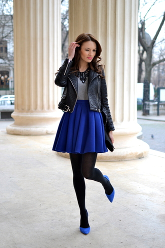 my silk fairytale jacket blouse skirt shoes bag jewels cobalt blue skirt blue