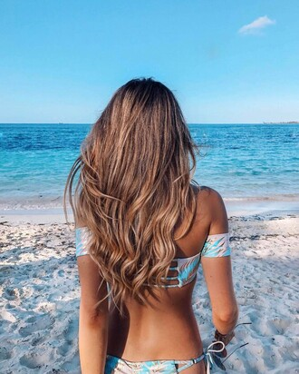 hair accessory tumblr hair hairstyles long hair brunette summer holidays summer beauty swimwear swimwear two piece bikini bikini top