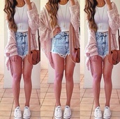 shorts,jacket,bag,shirt,jewels,shoes,acid wash,sweater,coat,blouse,vintage shorts,levi's shorts,knitted cardigan,converse,crop tops,necklace,pink,cardigan,high waisted denim shorts,High waisted shorts,cross body,long cardigan,tank top,cute,jeans,top,pink cardigan,home accessory,whole outft,white tank top