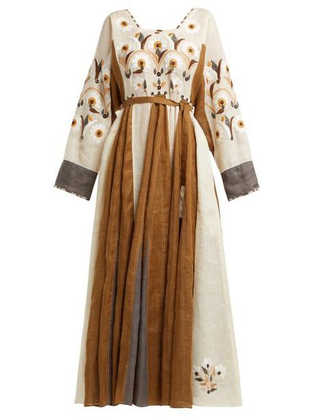 Vita Kin - Magnolia Embroidered Linen Dress - Womens - Brown White