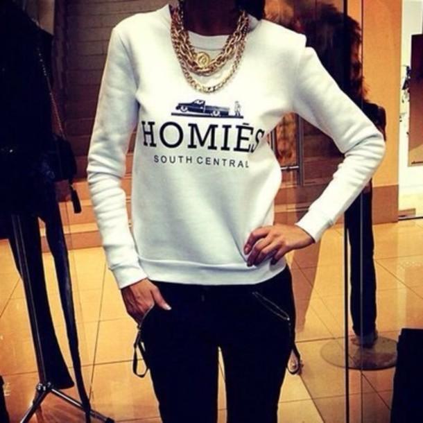 sweater homies homies sweater white sweater