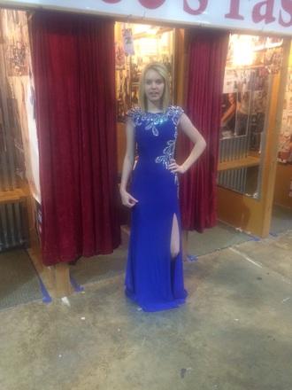 dress blue prom blue dress homecoming dress high neck sequin dress