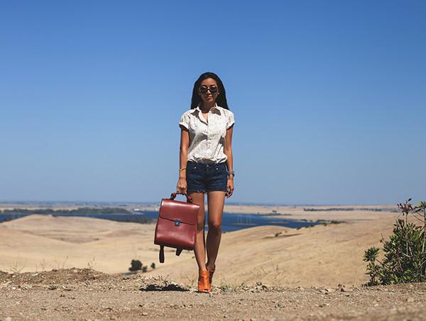honey and silk shirt shorts bag shoes sunglasses jewels