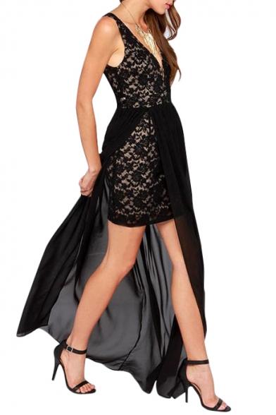 V-Neck&Back Lace&Chiffon Panel Longline Dress