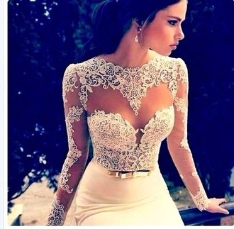 dress lace white prom flowers