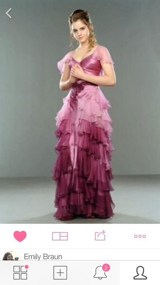 hermione yule ball yule ball dress ruffle prom gown gown emma watson fushia prom dress