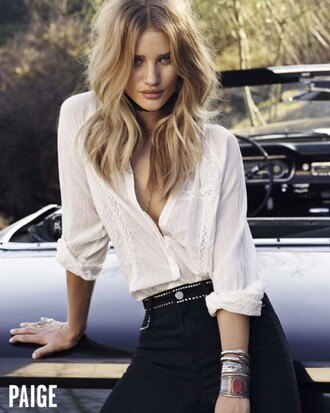 blouse shirt rosie huntington-whiteley model