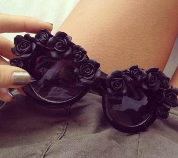 sunglasses black flowers