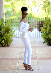 blouse,top,off the shoulder top white,jeans,www.ebonylace.storenvy.com,shirt,white peplum top,white peplum shirt
