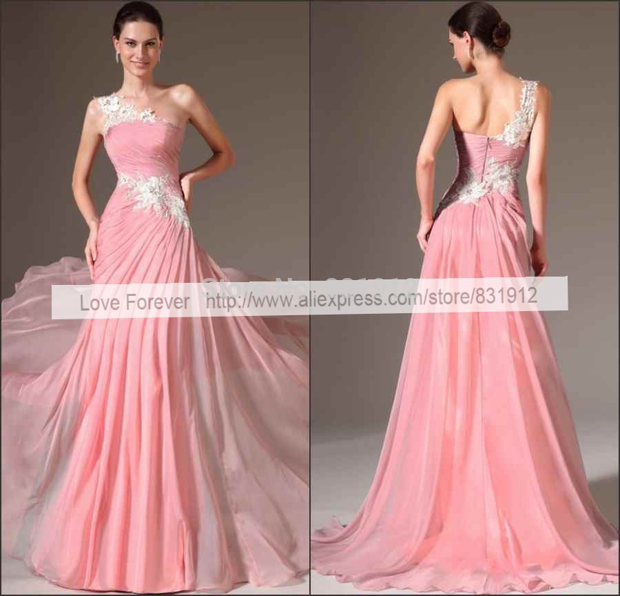 Aliexpress.com : Buy 2014 New Fashion Chiffon Pink Long Prom Dresses ...